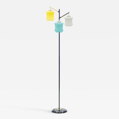 Vistosi Mid century Italian Vistosi brass and Murano glass floor lamp 1950s