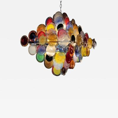 Vistosi Monumental Multi Color Murano Glass Disk Chandelier by Vistosi