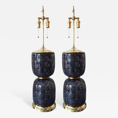 Vistosi Pair of Rare Large Blue Murano Glass Lamps by Vistosi