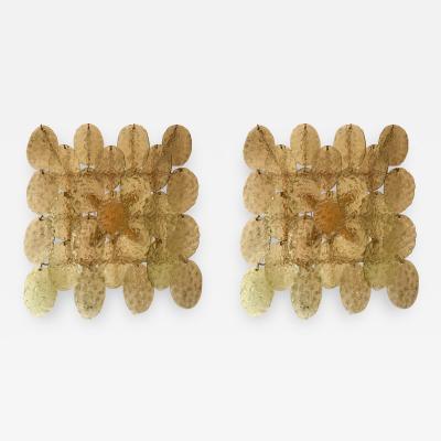 Vistosi Pair of Sconces Murano Glass by Vistosi Italy 1970s