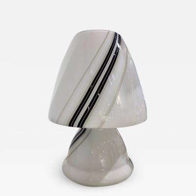 Vistosi Vintage 1970s Italian Large White Lamp with Black Murrine Attributed to Vistosi