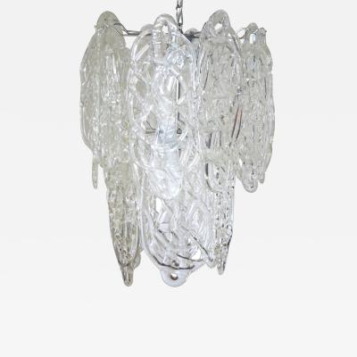Vistosi Vintage Italian Chandelier w Clear Murano Glass Designed by Vistosi c 1960s