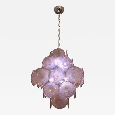 Vistosi Vistosi 1970s Art Deco Iridescent Amethyst Murano Glass Round Disk Chandelier