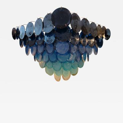 Vistosi Vistosi Blue Murano Glass Disc Chandelier