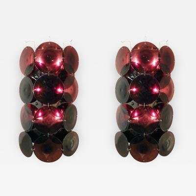 Vistosi Vistosi Pair of Large Amethyst Glass Sconces 1970s