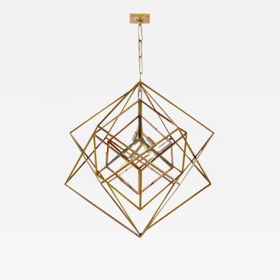Visual Comfort Company Modern Kelly Wearstler Cubist Gilt Metal Light Fixture Chandelier