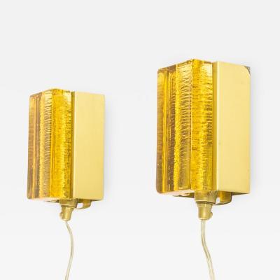 Vitrika Pair of Atlantic Wall lamps by Vitrika in Gold 1970s