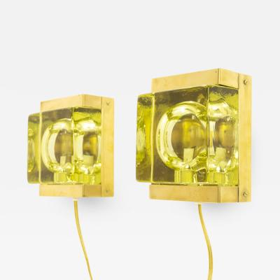 Vitrika Pair of Greenish Maritim glass and brass Wall lamps by Vitrika 1970s