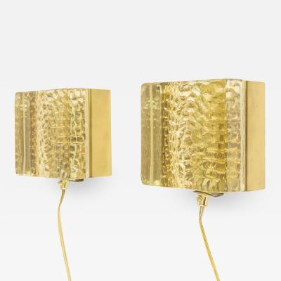 Vitrika Pair of Kalmar glass and brass Wall lamps in gold by Vitrika 1970s