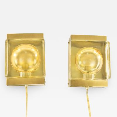 Vitrika Pair of Maritim glass and brass Wall lamps by Vitrika 1970s