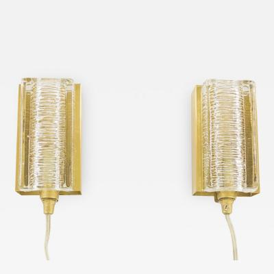 Vitrika Pair of White Glass and Brass Atlantic Wall Lamps by Vitrika 1970s