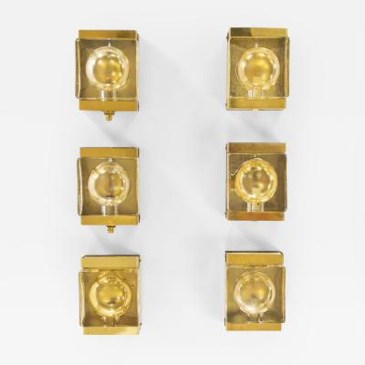 Vitrika Set of six gold coloured Maritim wall lamps by Vitrika 1970s