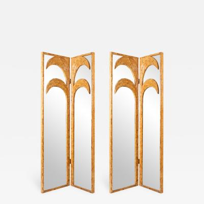 Vivai del Sud Pair of Bamboo Mirrored Panels or Four Panel Screen