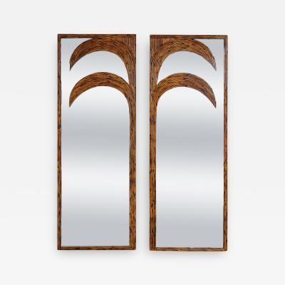 Vivai del Sud Pair of Standing Mirrors with Bamboo Palm Tree by Vivai del Sud