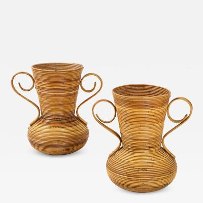 Vivai del Sud Pair of Vivai del Sud Italian Rattan Vases with Handles