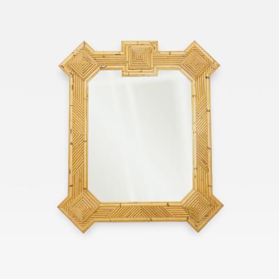 Vivai del Sud Rare XL rattan bamboo mirror Maurizio Mariani for Vivai Del Sud Roma 1970s