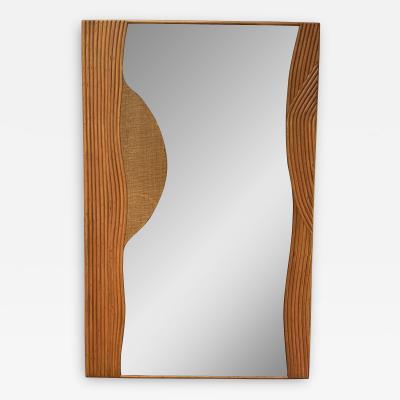 Vivai del Sud Rattan Mirror by Vivai Del Sud Italy 1970s