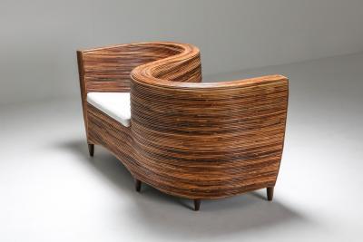 Vivai del Sud Rattan Serpentine Sofa Seat Vivai del Sud 1980s
