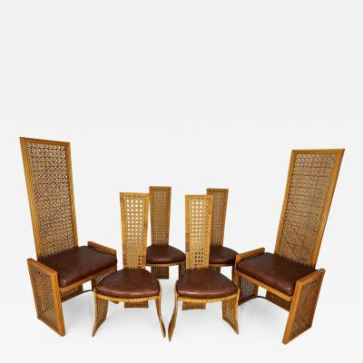 Vivai del Sud Set of Eight Dining Chairs with French Caning Casa Bella Danny Ho Fong Style