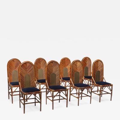 Vivai del Sud Vivai Del Sud Dining Chairs In Bamboo Brass Blue Velvet 1970s