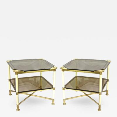 Vivai del Sud Vivai del Sud 1970s Rare Pair of Smoked Glass and Ivory Brass Side Tables