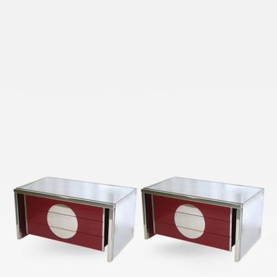 Vivai del Sud Vivai del Sud Rare 1970s Italian Pair of Freestanding Chrome End Tables