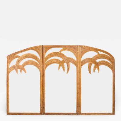 Vivai del Sud Vivai del Sud Triptych Floor Mirror In Bamboo 1970s
