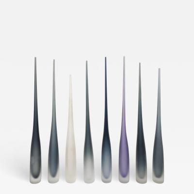 Vivarini FLUTE by Vivarini Series of 8 Murano glass vases