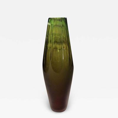 Vivarini Late 20th Century Green Faceted Murano Glass Vase by Vivarini