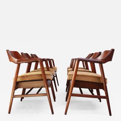 W H Gunlocke Chair Co Set of Six W H Gunlocke Sculptural Walnut Armchairs