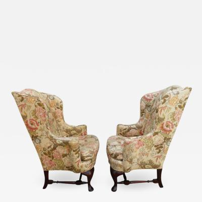 W J Sloane Handsome Pair of Georgian Style Wingback Chairs W J Sloane Midcentury