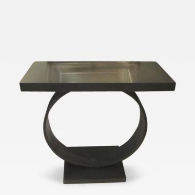W J Sloane Sculptural Steel Console with Stone Top by Sloane