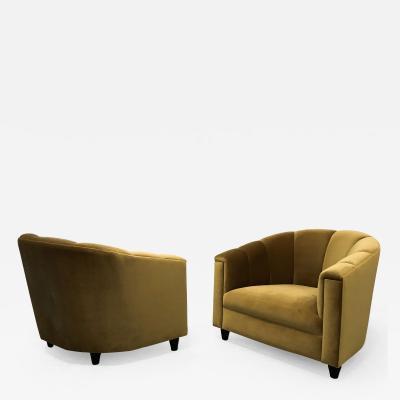 WATT Studio Art Deco Pair Of Club Chairs Golden Velvet