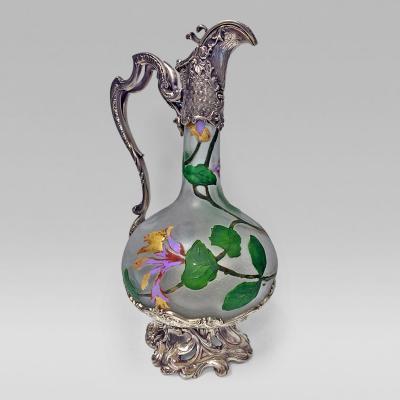 WMF Art Nouveau WMF Glass hand painted Claret Jug C 1900