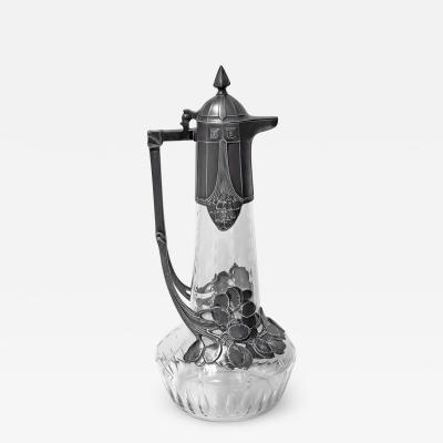 WMF W rttembergische Metallwarenfabrik W M F Art Nouveau Jugendstil WMF Pewter etched glass Claret Jug Germany C 1909
