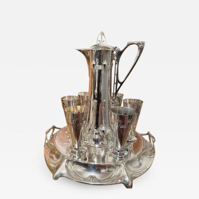 WMF W rttembergische Metallwarenfabrik W M F Art Nouveau Silver Wine Carafe with Cups and Tray by WMF