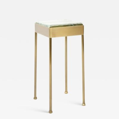 WYETH WYETH ORIGINAL GLASS BLOCK SIDE TABLE IN PATINATED BRONZE