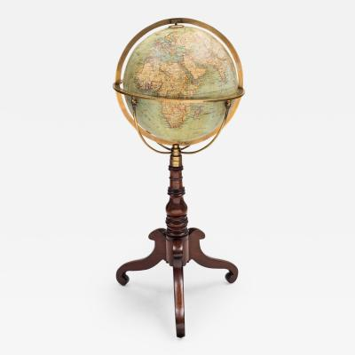 Wagner Debes Lehrm Anst of Leipzig 12 German Terrestrial Globe on Stand Circa 1880