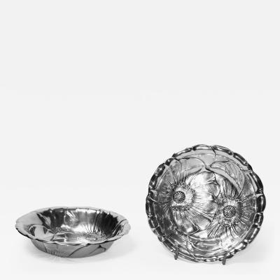 Wallace Silversmiths Inc Antique Large Sterling Art Nouveau Two Bowls by Wallace Silversmiths 1930s