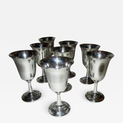 Wallace Silversmiths Inc Mid Century Modern Sterling Silver Wallace Silver Water Goblet Set