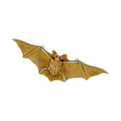 Wartski Art Nouveau Gold and Platinum Bat Brooch