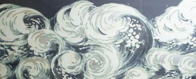 Waves Silver Leafed Print in Acrylic Box