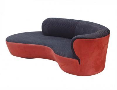Weiman Mid Century Modern Curved Serpentine Cloud Sofa by Weiman