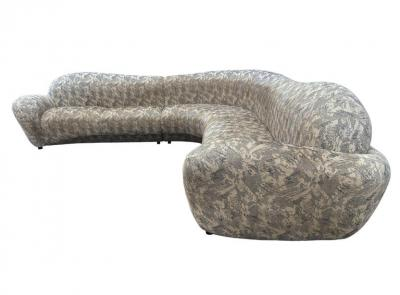 Weiman Mid Century Modern Curved and Sculptural Sectional Serpentine Sofa by Weiman