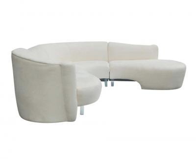 Weiman Mid Century Modern White Serpentine Sectional Sofa by Weiman
