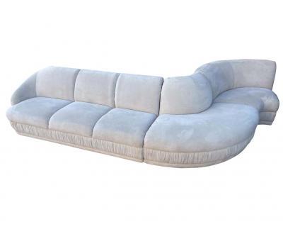 Weiman Midcentury Weiman 3 Piece Serpentine Sectional Cloud Sofa in Gray Velvet