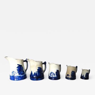 Weir Pottery Company Sleepy Eye Complete Set of 5 Stoneware Pitchers American Circa 1905