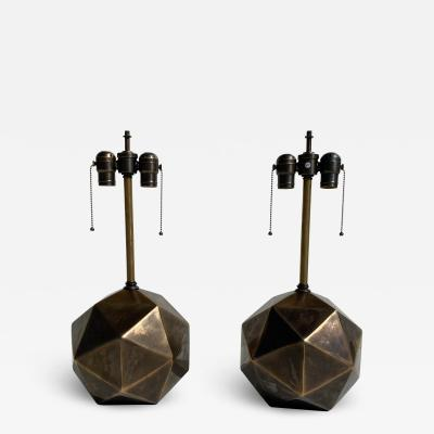 Westwood Industries Pair of Antiqued Bronze Geometric Lamps