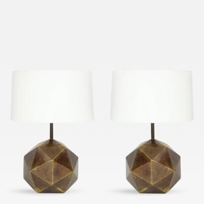 Westwood Industries Westwood Bronze Faceted Table Lamps Pair Signed USA 1970s