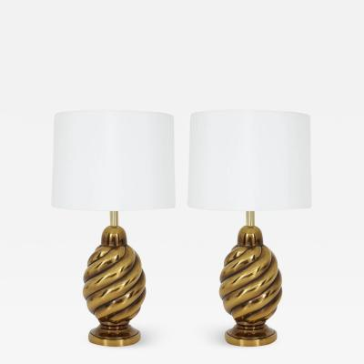 Westwood Lamps Pair of Spiral Aged Brass Lamps